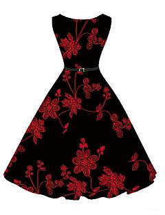 billige Vintage-dronning-Dame Vintage A-linje Kjole - Blomstret, Trykt mønster Knælang / Blomstermønstre