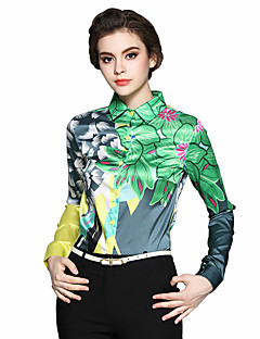 Women's Daily Work Chinoiserie Spring Summer Shirt,Print Shirt Collar Long Sleeves Cotton Thin