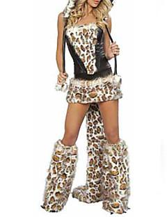 billige Voksenkostymer-Dyremønster Cosplay Kostumer Party-kostyme Dame Halloween Festival / høytid Halloween-kostymer Drakter Lapper / Satin