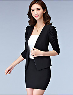 Women's Work Simple Spring Fall Blazer,Print Round Neck Long Sleeve Long Others