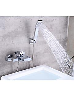 billige Foss-Badekarskran - Moderne Krom Centersat Keramisk Ventil Bath Shower Mixer Taps / Messing / Enkelt håndtak To Huller