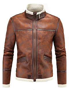Men's Plus Size Casual Street chic Winter Leather Jacket