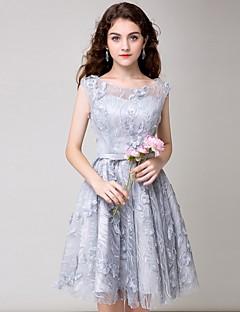 Linha A Princesa Ilusão Decote Curto / Mini Renda Coquetel Vestido com Flor(es) de Amgam