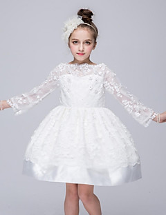 Ball Gown Short / Mini Flower Girl Dress - Organza Long Sleeves Bateau Neck with Applique by YDN