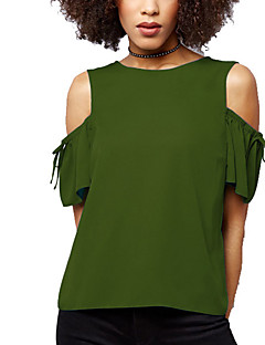 billige T-shirt-Dame - Ensfarvet Gade I-byen-tøj Plusstørrelser T-shirt