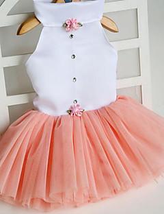 billiga Hundkläder-Katt Hund Klänningar Hundkläder Prinsessa Orange Fuchsia Grön Rosa Tyg Kostym För husdjur Gulligt