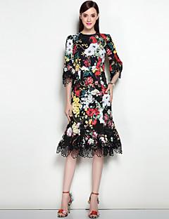 Χαμηλού Κόστους Φορέματα-Γυναικείο Εξόδου Καθημερινά Σέξι Κομψό στυλ street Γραμμή Α Φόρεμα,Φλοράλ Στρογγυλή Λαιμόκοψη Μίντι Ως το Γόνατο Πολυεστέρας Spandex