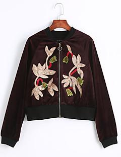 Damen Stickerei Einfach Street Schick Ausgehen Lässig/Alltäglich Jacke,Herbst Winter Rundhalsausschnitt Langarm Rot MittelKunstseide