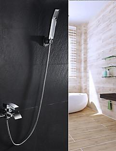 billige Foss-Badekarskran - Moderne / Art Deco / Retro Krom Badekar Og Dusj Keramisk Ventil Bath Shower Mixer Taps / To Håndtak to hull