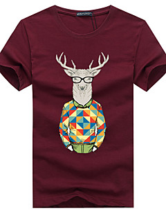 Men's Sports Casual/Daily Plus Size Simple Summer T-shirt,Print Round Neck Short Sleeve Cotton Medium