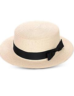billige Trendy hatter-Unisex Vintage Fritid Bøttehatt Stråhatt,Sommer Ensfarget Strå Beige Kakifarget