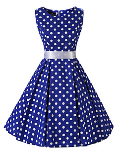 Women's Rockabilly Vintage Dress Blue White Polka Dot Round Neck Knee-length Sleeveless Cotton All Seasons Mid Rise