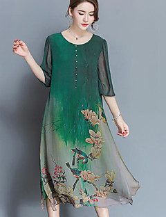Women's Going out Chinoiserie Loose Dress,Print Round Neck Midi Half Sleeves Chiffon Summer