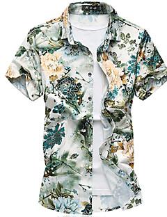 Bomull Tynn Kortermet,Skjortekrage Skjorte Blomstret Sommer Høst Enkel Ut på byen Fritid/hverdag Ferie Herre