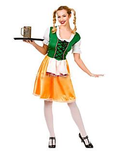 Oktoberfest Cosplay Kostumer Kvinnelig Halloween Oktoberfest Festival/høytid Halloween-kostymer Grønn Helfarve