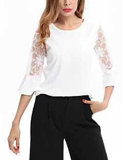 Women's Lace Casual/Daily Street chic Summer T-shirt,Solid Round Neck Short Sleeve Cotton Medium