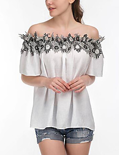billige Overdele til damer-Bateau-hals Dame-Ensfarvet Patchwork Blonder Sofistikerede T-shirt