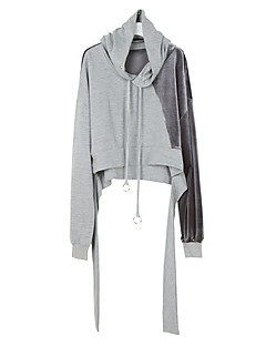 Women's Casual/Daily Hoodie Color Block Round Neck strenchy Cotton Long Sleeve