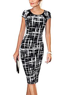 お買い得  レディースドレス-女性用 ワーク コットン ボディコン ドレス - プリント 膝丈