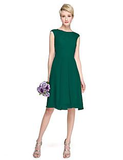billige Nøytral-A-linje Besmykket Knelang Chiffon / Blonder Brudepikekjole med Plissert av LAN TING BRIDE®