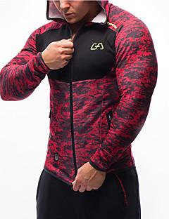 お買い得  ランニングシャツ/パンツ/ショーツ-男性用 ランニングTシャツ 長袖 ビデオ圧縮 快適 トレーナー トップス のために エクササイズ&フィットネス レジャースポーツ ランニング ナイロン タクテル S M L XL