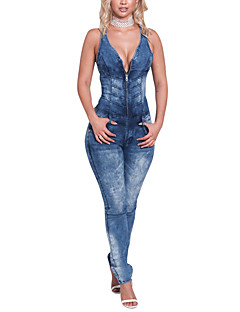 Women's Going out Holiday Simple Sexy Street chic Color Block V Neck Jumpsuits,Skinny Sleeveless Spring Summer Polyster