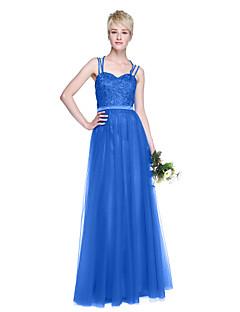 tanie Królewski błękit-Krój A Cienkie ramiączka Sięgająca podłoża Tiul Sukienka dla druhny z Koraliki / Plisy przez LAN TING BRIDE®
