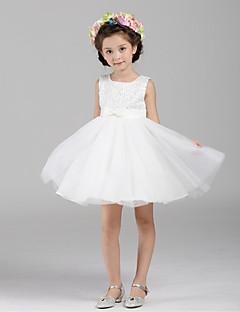 suknia balowa krótka / mini suknia kwiatowa - organza bez ramiączek szyja z cekinami przez ydn