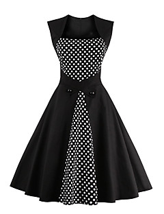 cheap Women's Dresses-Women's Party Vintage Swing Dress,Polka Dot Square Neck Knee-length Sleeveless Cotton All Seasons Mid Rise Micro-elastic Medium