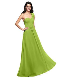 tanie Zielony szyk-Krój A Na jedno ramię Sięgająca podłoża Szyfon Sukienka dla druhny z Kwiat Marszczenia Krzyżowe przez LAN TING BRIDE®