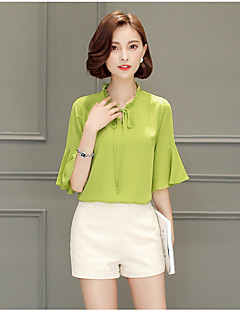 billige Plusstørrelser til kvinder på udsalg-Kæreste Dame - Ensfarvet Geometrisk Bluse