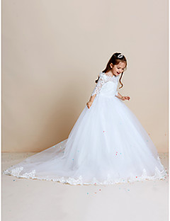 cheap Communion Dresses-Ball Gown Sweep / Brush Train Flower Girl Dress - Lace Tulle Half Sleeves Off Shoulder with Appliques Lace by LAN TING BRIDE®