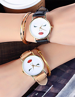 billige Modeure-Dame Quartz Armbåndsur Kinesisk Sej Læder Bånd Afslappet / Mode Sort / Hvid / Brun / Grøn / Gråt