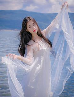 로리타 드레스 캐주얼 로리타 드레스 프린세스 쉬폰 한 조각 드레스 코스프레 화이트 긴 소매