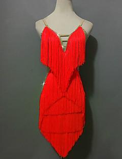 お買い得  -ラテンダンス ドレス 女性用 性能 スパンデックス スパンコール タッセル スプライシング カラーブロック ノースリーブ ハイウエスト ショートパンツ