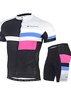 billige Sykkelklær-Nuckily Herre Sykkeljersey med shorts - Svart Sykkel Klessett, Fort Tørring, Ultraviolet Motstandsdyktig, Refleksbånd Polyester Coolmax