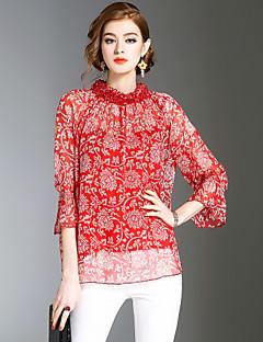 Bluza Ženske,Vintage Jednostavno Slatko Izlasci Ležerno/za svaki dan Plaža Print-¾ rukava Ruska kragna-Proljeće Ljeto Srednje Poliester