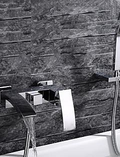 billige Foss-Badekarskran - Moderne Krom Vægmonteret Keramisk Ventil / Enkelt håndtak tre hull