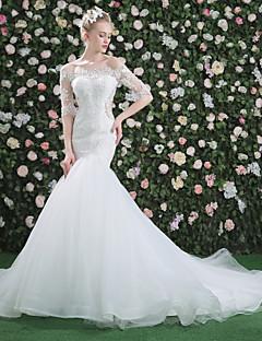 Trompete / Meerjungfrau Bateau Hals Kathedralen Schleppe Spitze Tüll Hochzeitskleid mit Perlenstickerei Perle Paillette Spitze durch QZ