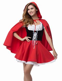billige Halloween- og karnevalkostymer-Eventyr Rødhette Cosplay Kostumer Party-kostyme Dame Jul Halloween Karneval Festival / høytid polyester Drakter Rød Lapper
