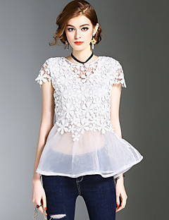 Dames Eenvoudig Schattig Street chic Lente Zomer T-shirt,Uitgaan Casual/Dagelijks Strand Effen Ronde hals Korte mouw Polyester Medium