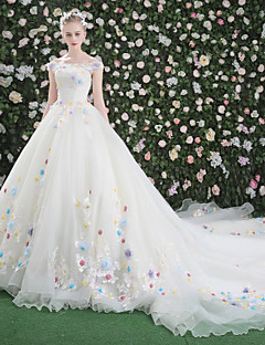 Ball Gown Off The Shoulder Cathedral Train Lace Organza Tulle Wedding Dress With Flower By QZ
