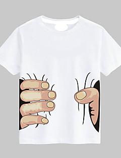 billige Overdele til drenge-Unisex T-shirt Daglig Sport Skole Bomuld Sommer Kortærmet Hvid Sort Rød Gul Lyseblå