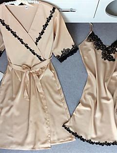 お買い得  ファッションランジェリー-スーツ サテン&シルク ユニフォーム&チャイナドレス ナイトウエア サテン 女性用 ソリッド