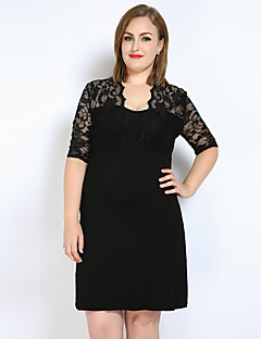 Really Love Women's Daily Club Plus Size Cute Casual Sexy Lace T Shirt Tunic Dress,Solid V Neck Above Knee Short Sleeves Modal Spring Summer Mid Rise