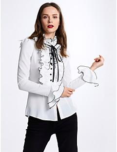 Dámské Jednobarevné Běžné/Denní Jednoduchý Košile-Jaro Podzim Polyester Dlouhý rukáv Neprůhledné Tenké