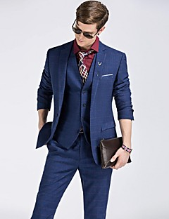 Royal Blue Solid Slim Fit Polyester Viscose Suit - Notch Single Breasted One-button