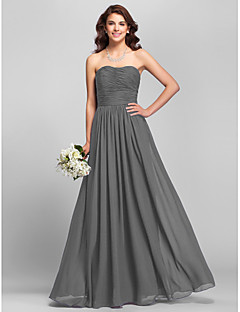 A-Line Strapless Floor Length Chiffon Bridesmaid Dress with Side Draping Ruching by LAN TING BRIDE®