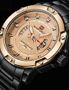 NAVIFORCE בגדי ריקוד גברים שעוני אופנה שעון יד שעונים יום יומיים שעוני ספורט שעונים צבאיים Japanese קווארץ לוח שנה עמיד במים LED זורח