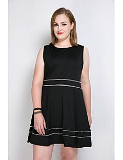 billige Plus Størrelser-Dame-Dame Plusstørrelser Sødt A-linje Løstsiddende Skater Kjole - Farveblok, Kvast Knælang